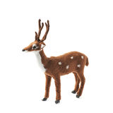 Toy roe deer fawn isolated. Toy roe deer fawn figurine isolated over the white background Stock Image