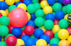 Toy rubber balls background. Stock Photos