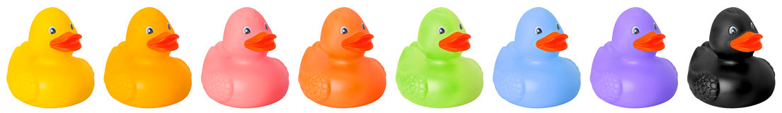 Toy rubber colored ducks Royalty Free Stock Photos