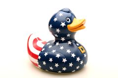 Toy Rubber Duck. A toy rubber duck with stars and stripes Royalty Free Stock Photos