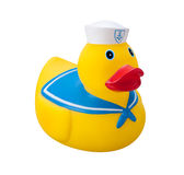 Toy Rubber Duck isolated. Toy Rubber Duck in a sailor suit, isolated on a white background with a clipping path. The isolation is on a transparent background in stock photo