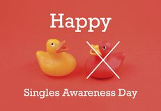 Singles Awareness Day images. Toy Rubber duck stock images. Red and yellow rubber duck. Couple of colorful rubber ducks. February 15, Singles Awareness Day stock photography