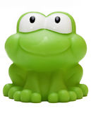 Toy rubber frog isolated on white background. Toy rubber frog on white background - papera in gomma su sfondo bianco Royalty Free Stock Images