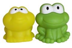 Toy rubber frog isolated on white background. Toy rubber frog on white background - papera in gomma su sfondo bianco Stock Photography