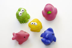 Toy rubber group isolated on white background. Toy rubber group with duck, frog, dolphins on white background - papera in gomma su sfondo bianco Royalty Free Stock Photo