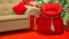Toy Sack Beside Chair de Santa imagens de stock