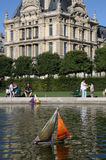 Toy Sailboat in pond, Lourve, Jardin Paris, France Royalty Free Stock Images
