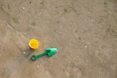 Toy and sand on the beach. Of Thailand Royalty Free Stock Photo