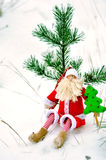 Toy Santa Claus. And live fur-tree stock photography