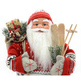 Toy Santa Claus. Santa Claus doll with a bag of gifts royalty free stock photo