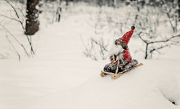 Toy Santa Claus on a sledge in a snowy forest Stock Images