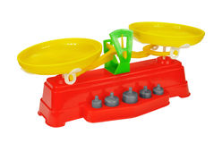 Toy scales with weights Stock Photography