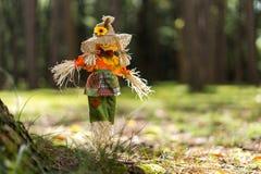 Toy Scare Crow im Gras in einem Wald stockfoto