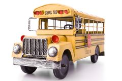 Toy school bus isolated. On a white background Stock Photography