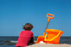 Toy set on the beach Royalty Free Stock Images