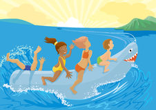 Toy shark. Children on a toy shark stock illustration