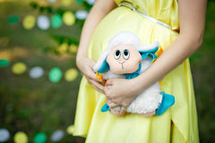 Toy sheep against a stomach of the pregnant woman. Royalty Free Stock Photo