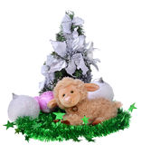 Toy sheep with christmas toys Royalty Free Stock Photos