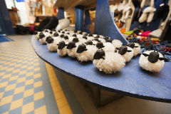 Toy sheep for sale displayed in supermarket Royalty Free Stock Photo