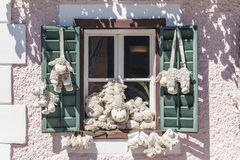 Toy sheep. In the window of a souvenir shop in Hallstatt Stock Images