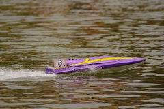 Toy ship. A toy ship surfing in a lake Royalty Free Stock Images