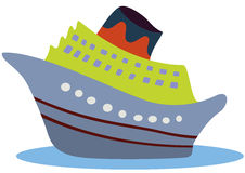 Toy ship. Blue travel over the ocean Royalty Free Stock Photos