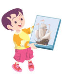 Toy ship present. A kid happily showing his toy ship Stock Image