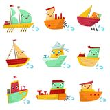Toy Ships With Faces Colorful Illustration Set Stock Photo