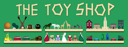 The Toy Shop. Illustration of toy shop shelves Stock Image