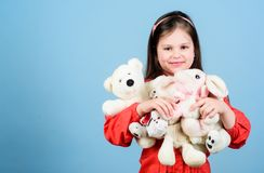 Toy shop. childrens day. Best friend. little girl playing game in playroom. happy childhood. Birthday. hugging a teddy stock photo