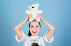 Toy shop. childrens day. Best friend. small girl with soft bear toy. child psychology happy childhood. Birthday stock photos