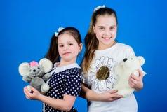 Toy Shop De Dag van kinderen speelplaats in kleuterschool gelukkige kleine zustersmeisjes die spel in speelkamer spelen handmade stock foto