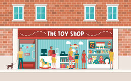 Toy shop. Display with customers and children, toys and videogames on shelves Stock Photography