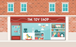 Toy shop. Display and interior with shelves and checkout stock illustration