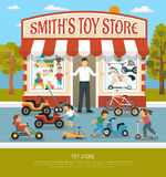 Toy Shop Flat Background. Kids store products children toy shop composition with boutique building seller and infants with bicycles playcars vector illustration Stock Photo