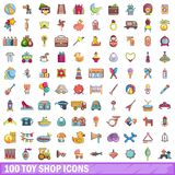 100 toy shop icons set, cartoon style. 100 toy shop icons set. Cartoon illustration of 100 toy shop vector icons  on white background Royalty Free Stock Images