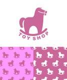 Toy Shop logo rocking horse. Set emblem and pattern for children Stock Photo