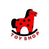 Toy Shop-Logoschaukelpferd Kinderspielzeug-Pferdeäpfel hoss für Chi vektor abbildung