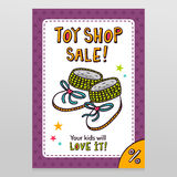 Toy shop vector sale flyer design with baby booties. Toy shop bright vector sale flyer design baby booties with on white with purple starry pattern background stock illustration