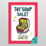 Toy shop vector sale flyer design with baby car seat Stock Image