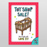 Toy shop vector sale flyer design with baby crib Royalty Free Stock Photo