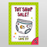 Toy shop vector sale flyer design with baby diaper Stock Images