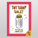 Toy shop vector sale flyer design with baby powder bottle Royalty Free Stock Photos