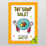 Toy shop vector sale flyer design baby tableware - plate, fork a Royalty Free Stock Photography