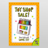 Toy shop vector sale flyer design with box of colored pencils Royalty Free Stock Images