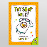 Toy shop vector sale flyer design with cute baby bodysuit Stock Images
