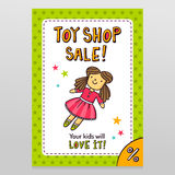 Toy shop vector sale flyer design with cute doll in pink dress Royalty Free Stock Photography