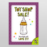 Toy shop vector sale flyer design with feeding bottle Royalty Free Stock Photos