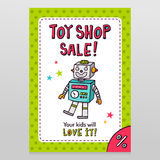 Toy shop vector sale flyer design with happy vintage toy robot Stock Photography