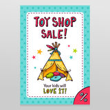 Toy shop vector sale flyer design with Indian wigwam for kids Royalty Free Stock Photo